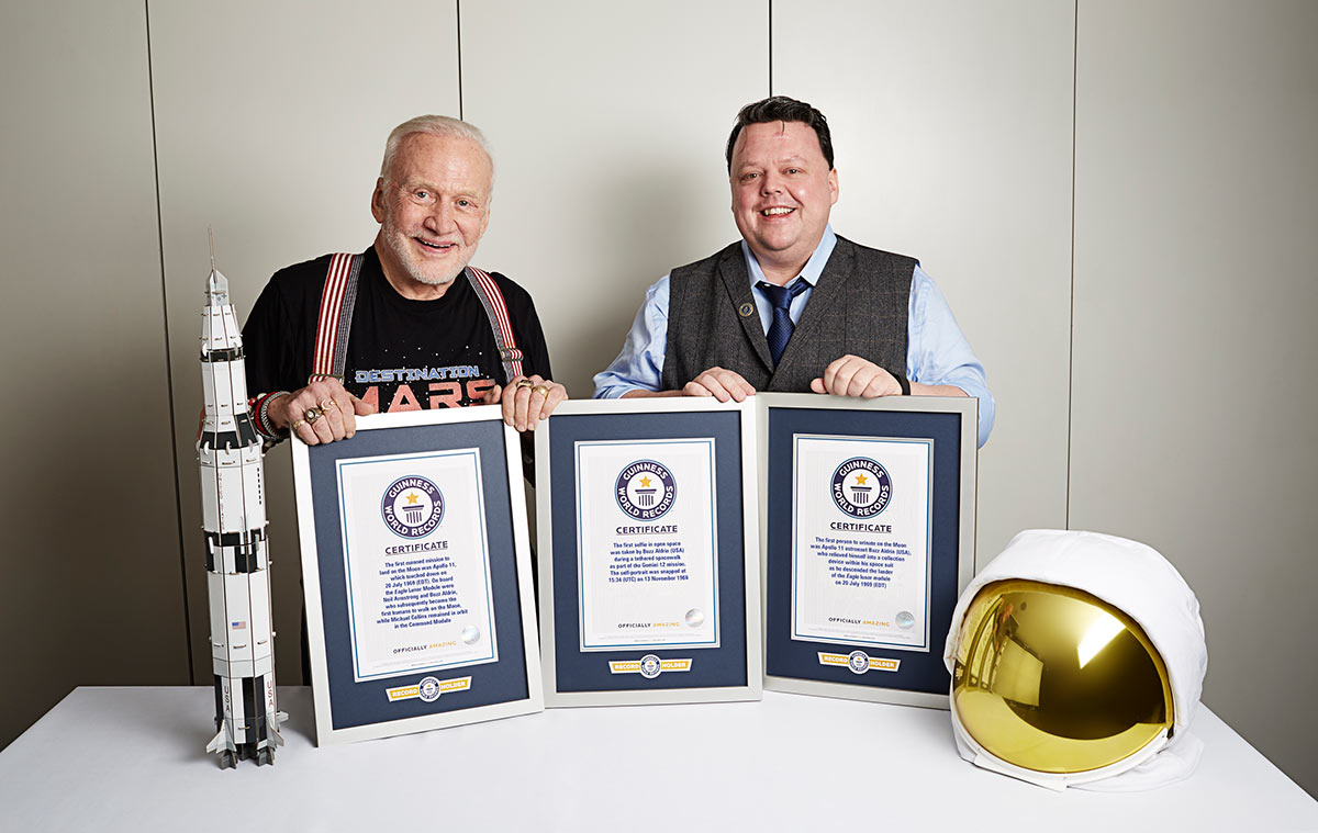 Buzz Aldrin and GWR Editor-in-Chief Craig Glenday in 2016