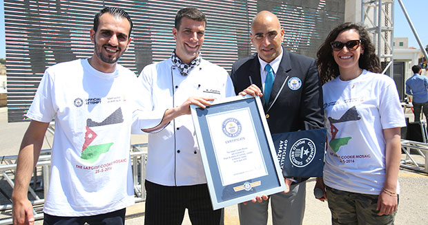 Certificate presentation for largest cookie mosaic in Jordan