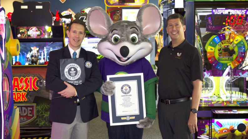 chuck e cheese s brings families together to help set party blower
