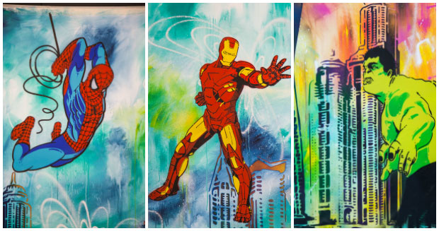 Collage of superheroes on the largest stencil