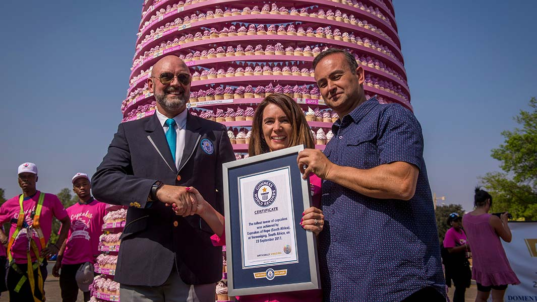 South African cancer charity builds tallest tower of cupcakes