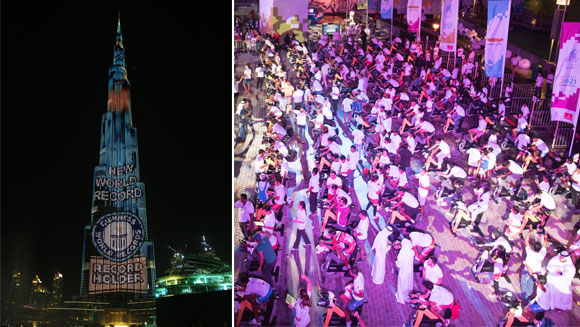 Dubai lights up Burj Khalifa as spectacular finale to cycling record attempt