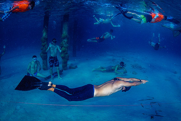 Longest distance swam underwater with one breath (open water)