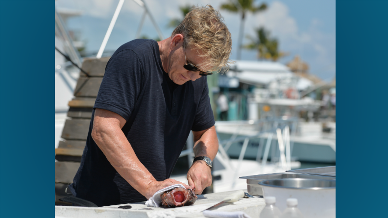 "Gordon Ramsay competes for a fish filleting record on ""The F Word"""