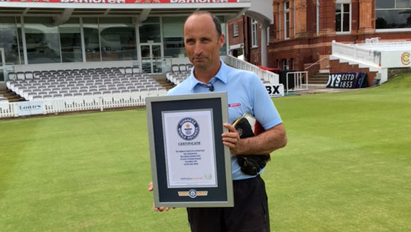 Drone stunt sees England legend Nasser Hussain set world record for Highest catch of a cricket ball