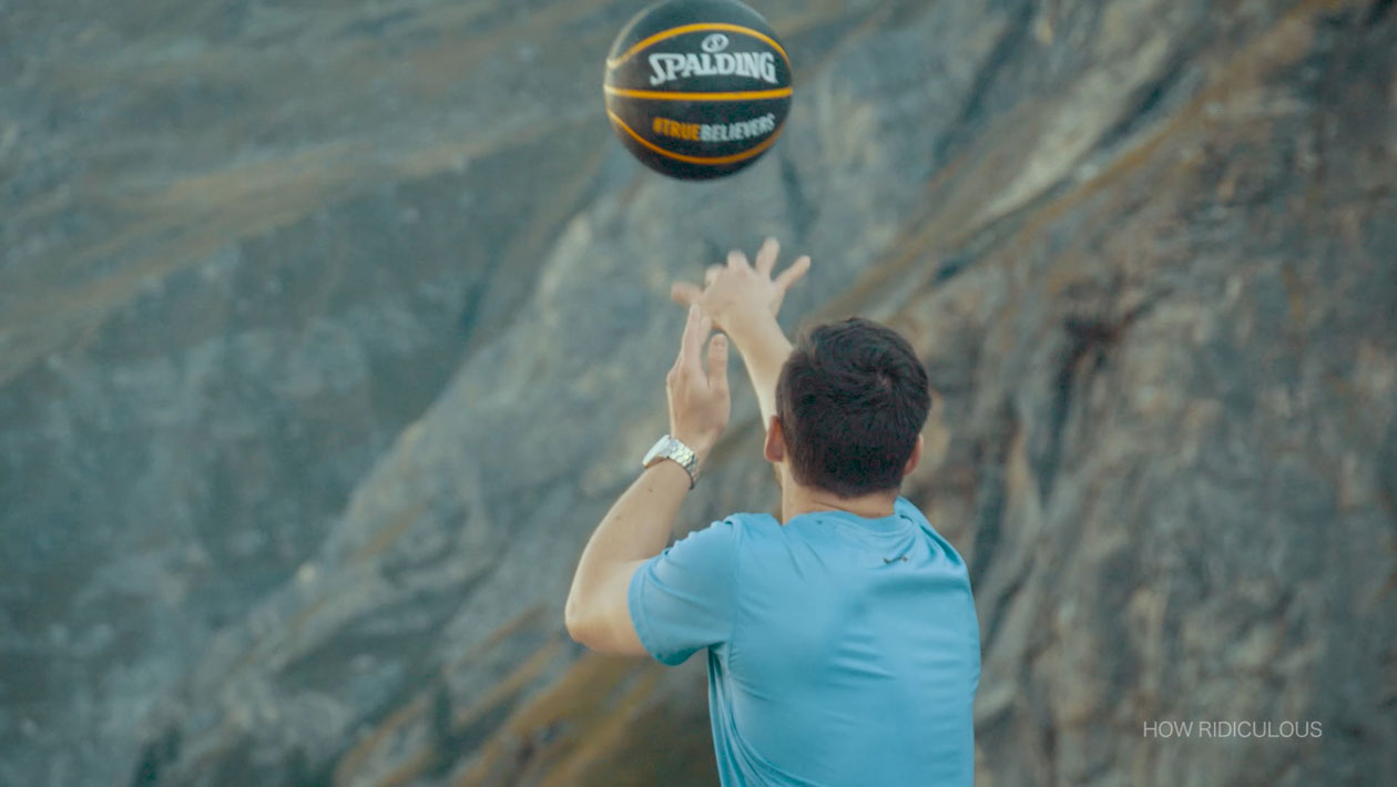 Aussie YouTube stars How Ridiculous break Dude Perfect's record for highest basketball shot ever