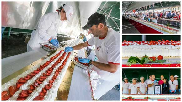 French strawberry festival serves up world's longest fraisier pâtissier