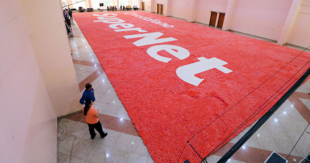 Largest disposable cup mosaic Vodafone logo