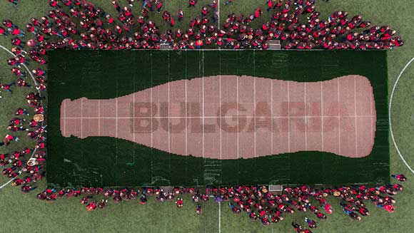 Coca-Cola Bulgaria creates record-breaking mosaic out of 72,933 empty bottles