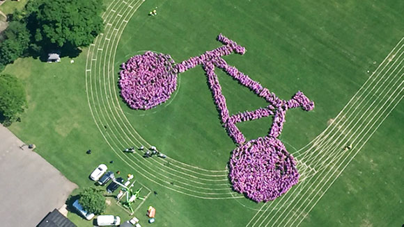 Largest human image of a bicycle aerial