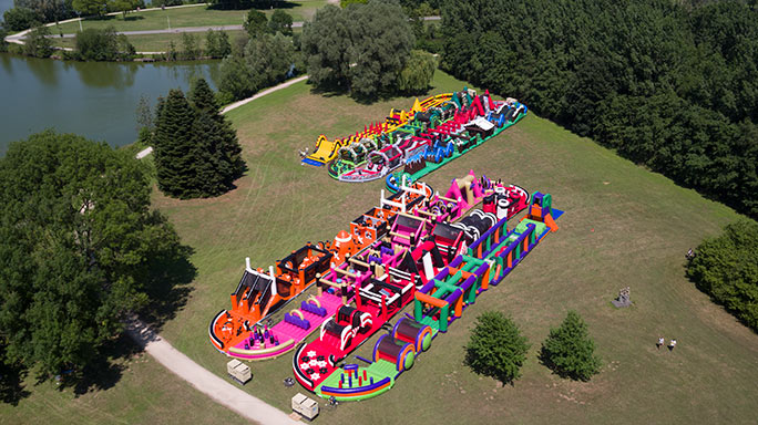 Largest inflatable obstacle course full course
