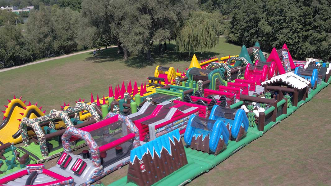 Video: Try out the world's longest inflatable obstacle course