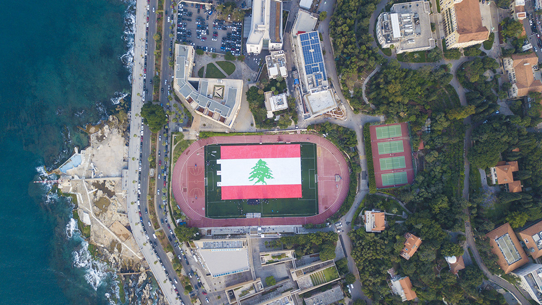 Beirut university students create giant Lebanese flag that can be seen from the sky