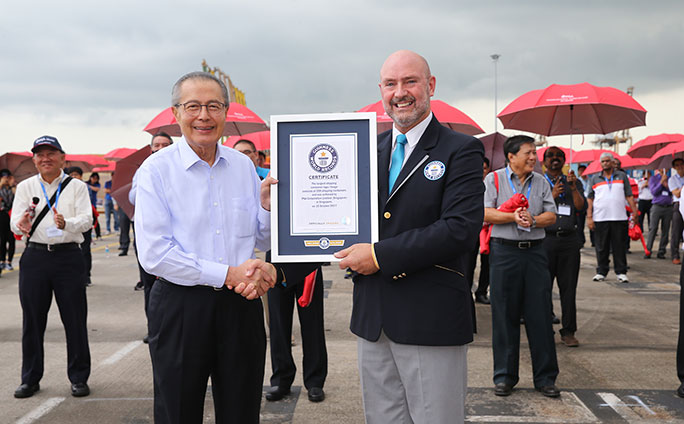 Largest shipping container logo certificate presentation
