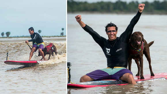 Video: Human and dog duo break surfing record in Brazil