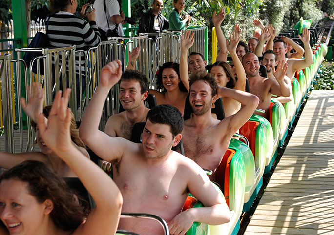Most naked riders on a theme park ride