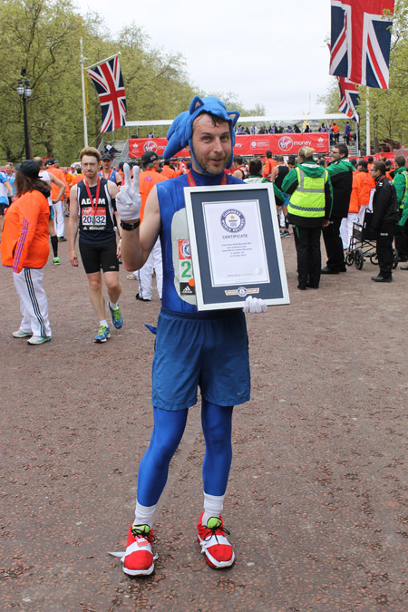 Fastest marathon dressed as a videogame character as Sonic The Hedgehog