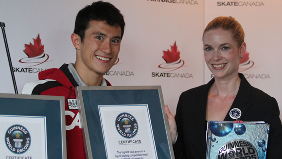 Ice skating star Patrick Chan honoured for triple world record achievement