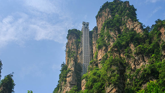 Breathtaking cliff face elevator in China recognised as world's tallest outdoor lift