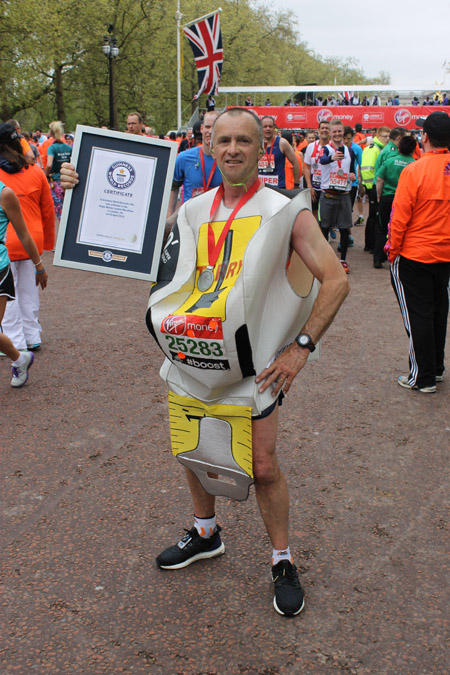 Fastest marathon dressed as a tool as a Tape Measure