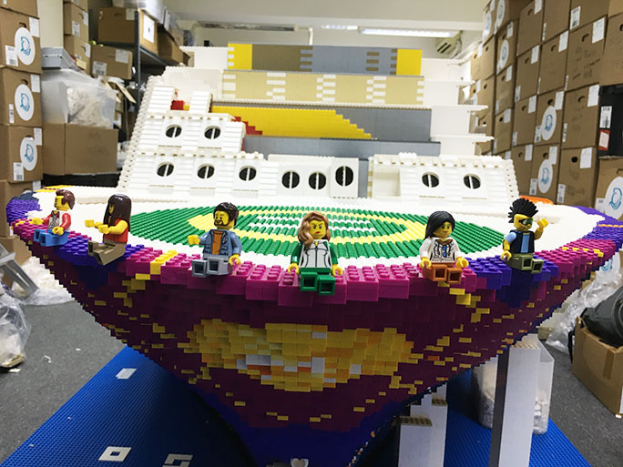 The front of the largest LEGO ship