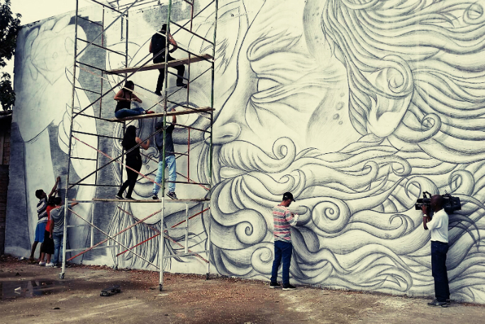 Largest pencil sketch mural 3