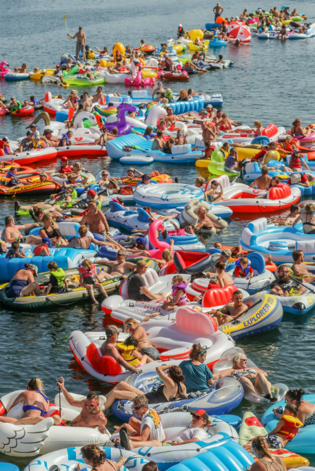 Longest line of water inflatables 4