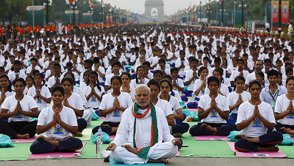 Prime Minister Modi helps India stretch its way to world records during International Day of Yoga