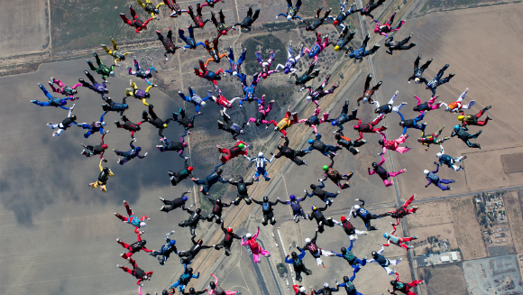 Classics: Watch International group of female skydivers set spectacular new record for largest sequential freefall formation