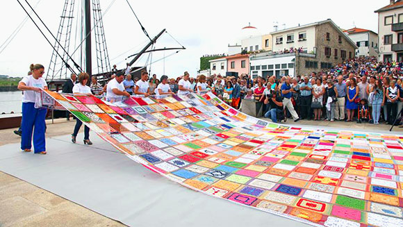Largest ever bobbin lace is unveiled in Portuguese town to celebrate historical tradition