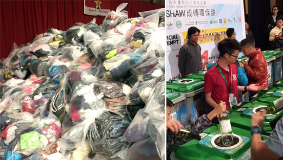 Recycling records set in US and Hong Kong after campaigns collect mountains of used clothes and bottles