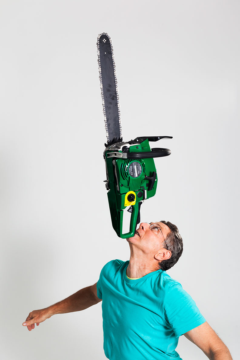 In 2013, Ashrita achieved the longest duration balancing a chainsaw on the chin. (This record has since been broken.)