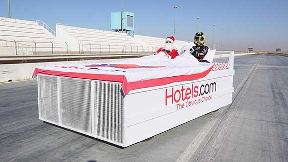Hotels.com and British racing pro Tom Onslow-Cole drive world's fastest bed into the record books