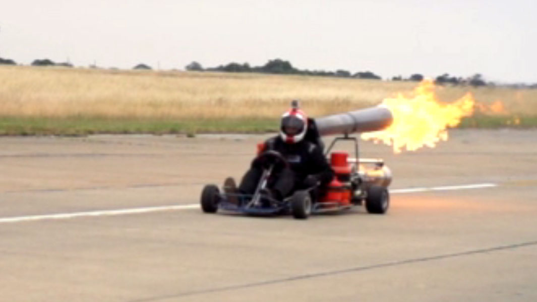 Drag Racer Attempts To Drive His Jet Powered Go Kart Over 100 Mph