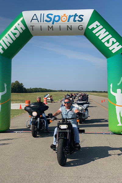 Finish line during Harley Davidson motorcycle attempt