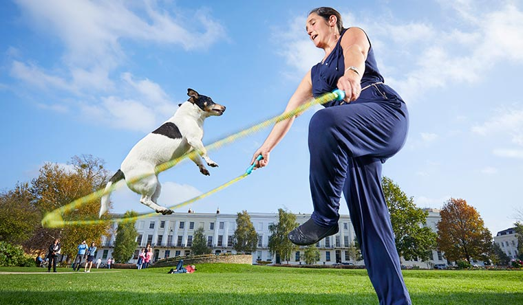 Jessica and owner Rachel Grylls have the most skips by a dog and person in one minute with 59