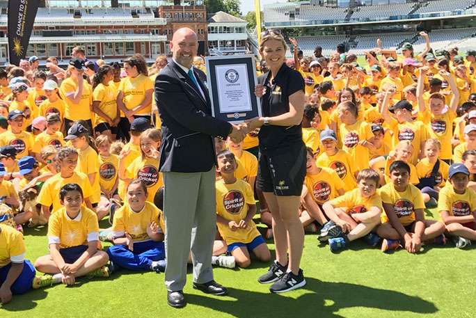 Largest cricket lesson certificate presentation