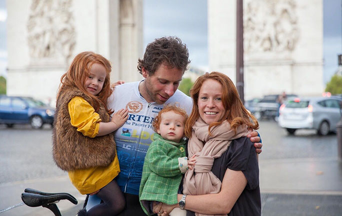 Mark Beaumont and his family after the attempt