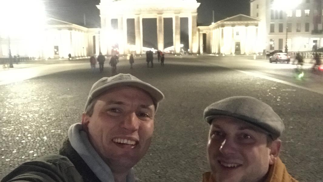 Adam Leyton and Chris Fletcher in Berlin during their attempt for the most sovereign capital cities visited in 24 hours using scheduled transport