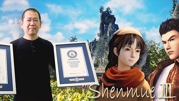 Japanese videogame designer Yu Suzuki accepts certificates for Shemue 3 crowdfunding records