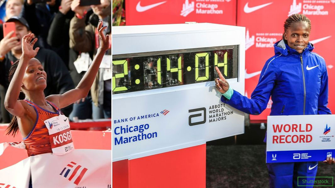 Brigid Kosgei set a new fastest women's marathon record with a time of 2 hours 14 minutes 4 seconds