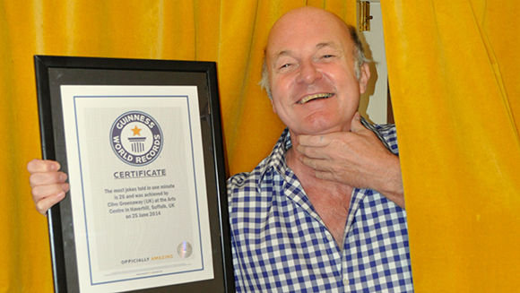 Video: Watch quickfire comedian Clive Greenaway set most jokes in one minute world record