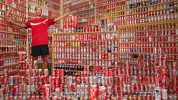 Coca Cola superfan Davide Andreani's world-beating can collection featured in Guinness World Records 2015