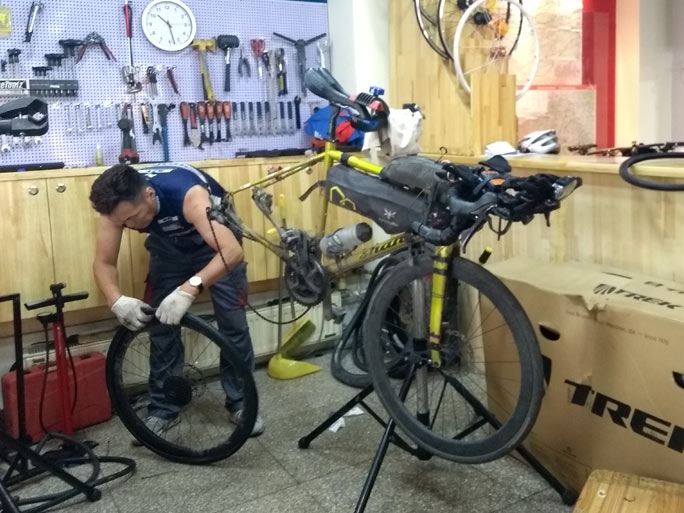 Bike repairs in Mongolia