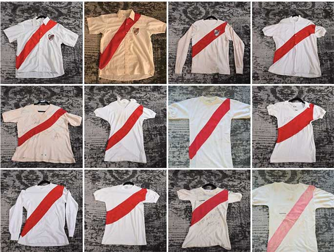 River Plate home shirts from 1950-1960