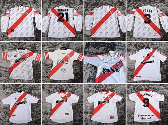 River Plate home shirts from 1996-1999. Daniel's favourite is the 1996 strip