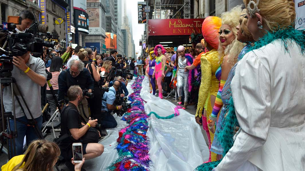 Mile-long feather boa sets record in New York to celebrate of Pride Month