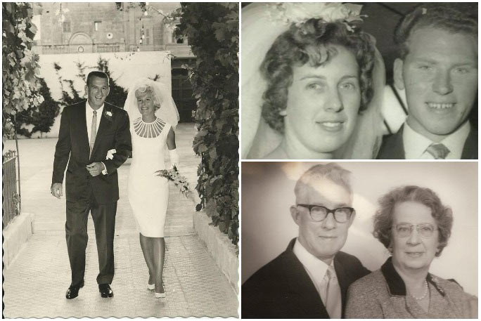 Clockwise from left: Elizabeth and Jim Hamel at their wedding, Ann and Jim Hunt on their wedding day and their mother, Alice, with her husband George Burton who she married aged 48