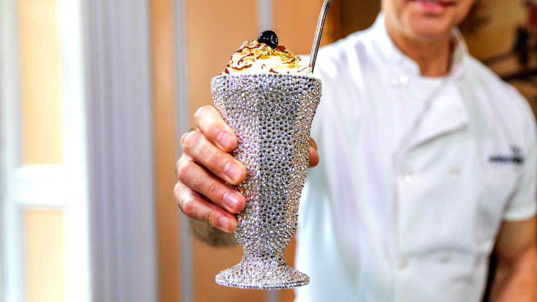 New York restaurant serves most expensive milkshake in a glass covered with Swarovski crystals
