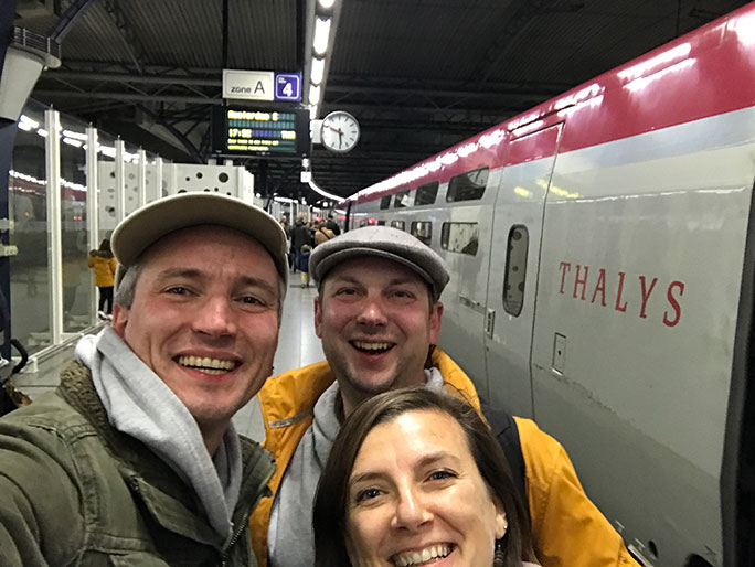 Adam and Chris met Chris' friend Frederique during a five-minute stop in Brussels